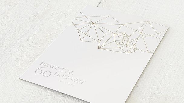 Diamantene Hochzeit Einladung - Herz Diamant