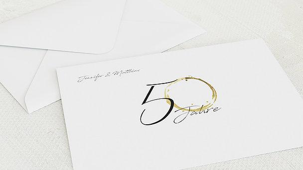 Umschlag mit Design Goldene Hochzeit - Liebesspur