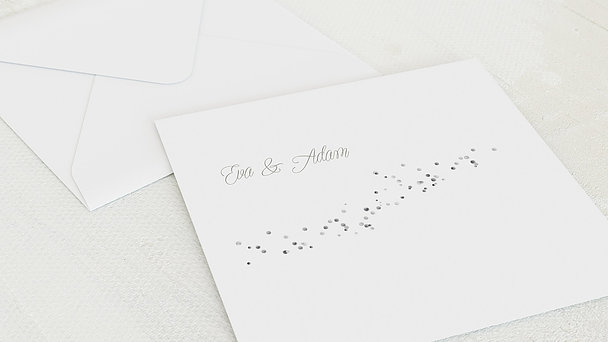 Umschlag mit Design Silberne Hochzeit - Silber-Geflitter