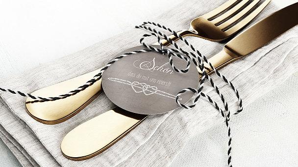 Besteckbanderolen und Serviettenanhänger - Liebesknoten