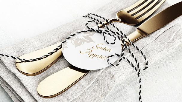 Besteckbanderolen und Serviettenanhänger - Weiße Hochzeit