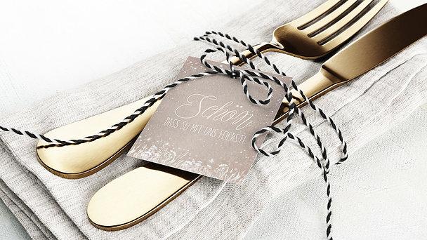 Besteckbanderolen und Serviettenanhänger - Zauberlicht