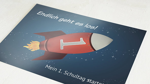 Einladungen zur Einschulung - Rakete