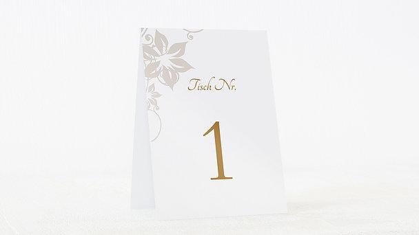 Tischnummern - Weiße Hochzeit