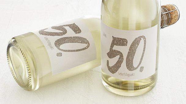 Sektetiketten Geburtstag - Goldene Nummer 50