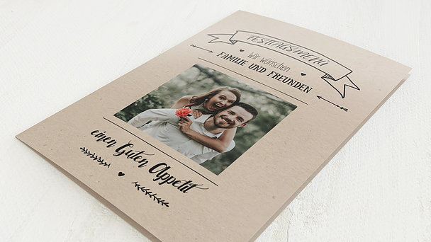 Menükarte Hochzeit - Kraftpapier