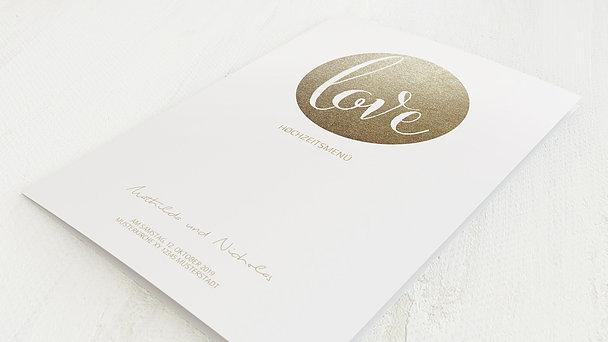 Menükarte Hochzeit - Goldpanel