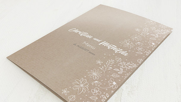 Menükarte Hochzeit - Blumenstil