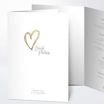 Menükarte Hochzeit - Herz über Kopf