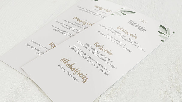 Menükarte Hochzeit - Edles Grün