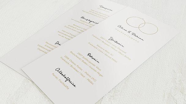 Menükarte Hochzeit - Zarte Ringe