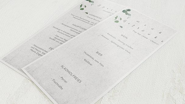 Menükarte Hochzeit - Blätterregen