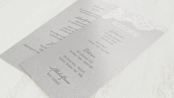 Menükarte Hochzeit - Pastellspitze