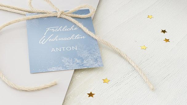 Geschenkanhänger Weihnachten - Weiße Flocken
