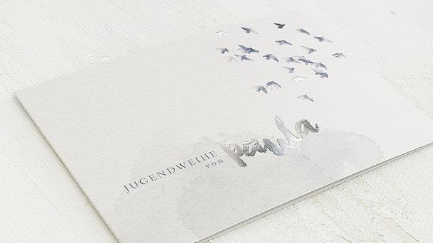 Jugendweihe Karten - Fliegende Taubenschar