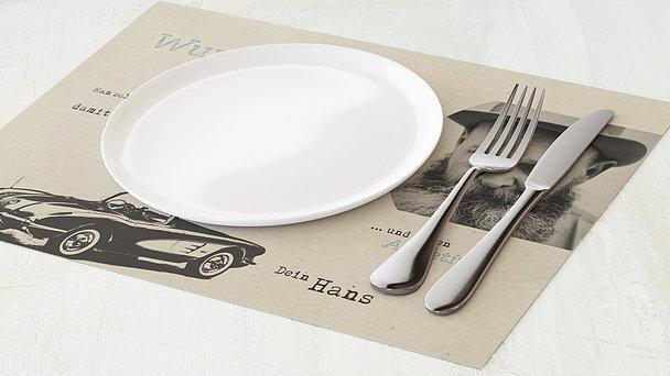 Tischset Geburtstag - Heißer Schlitten