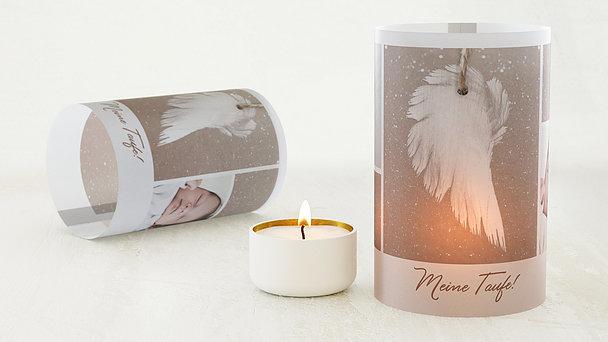 Windlicht Taufe - Zarte Flügel Baby