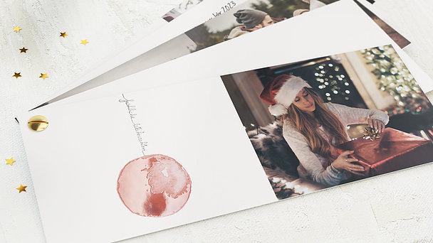 Weihnachtskarten - Rote Weihnachtskugel