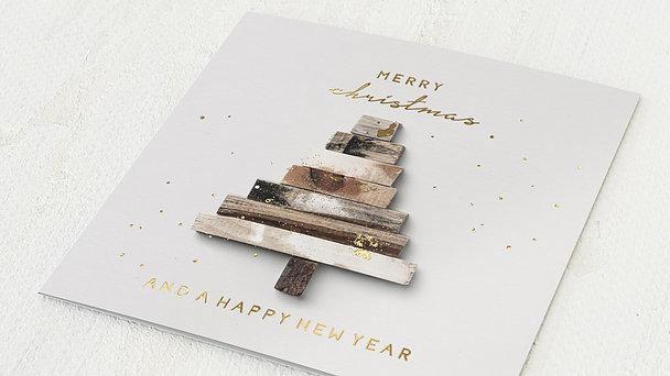 Weihnachtskarten Geschäftlich - Wooden tree