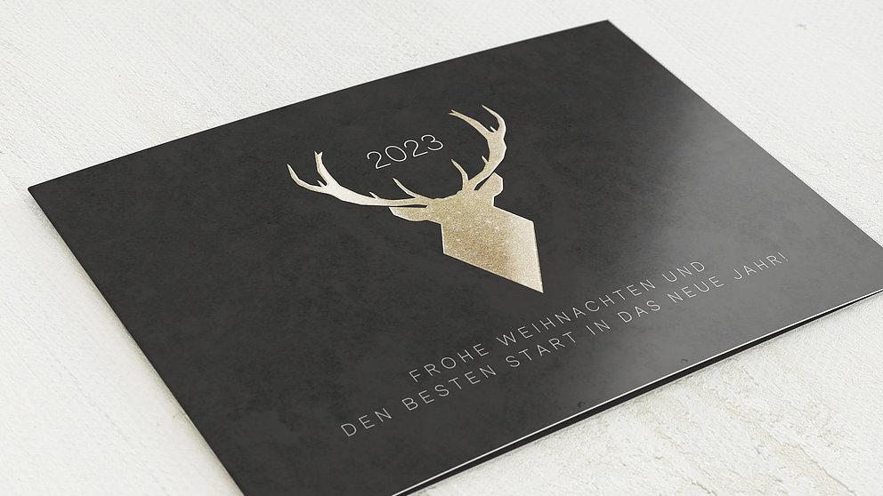 weihnachtskarten gesch ftlich goldener hirsch detail. Black Bedroom Furniture Sets. Home Design Ideas