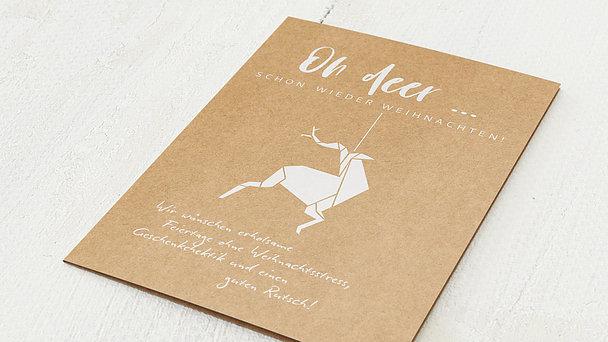 Weihnachtskarten Geschäftlich - Origami deer