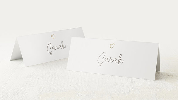Tischkarten Hochzeit - Herz über Kopf