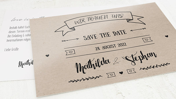 Save the Date - Kraftpapier