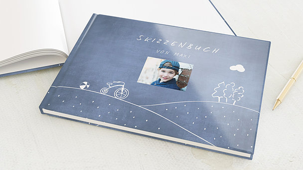 Skizzenbuch - Tafeloptik Blau