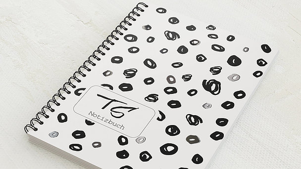 Notizbücher mit Spiralbindung - Kringel Schwarz Weiß