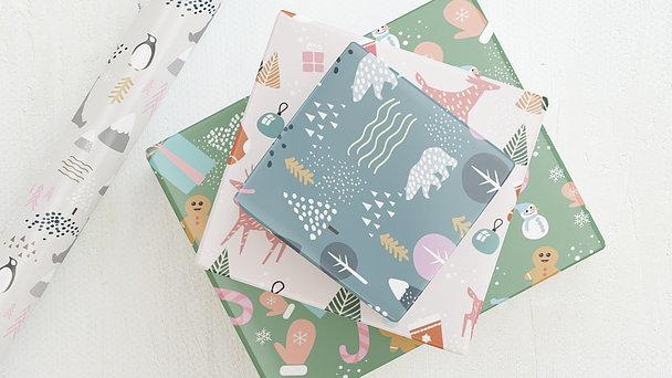 Geschenkpapier - Kunterbunte Weihnachtswelt