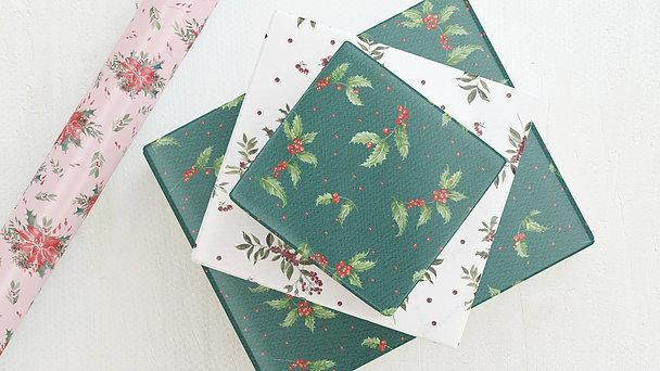 Geschenkpapier - Mistel & Weihnachtsstern