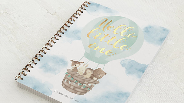 Baby-Tagebuch Spiralbindung - Babytagebuch Ballon