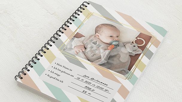Baby-Tagebuch Spiralbindung - Babytagebuch Streifen
