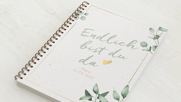 Baby-Tagebuch Spiralbindung - Babytagebuch Leaves
