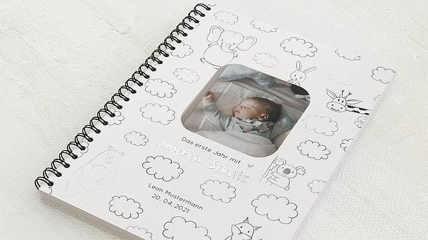 Baby-Tagebuch Spiralbindung - Babytagebuch Clouds