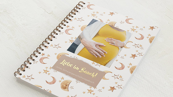 Schwangerschafts-Tagebuch Spiralbindung - Schwangerschaftstagebuch Moon&Stars