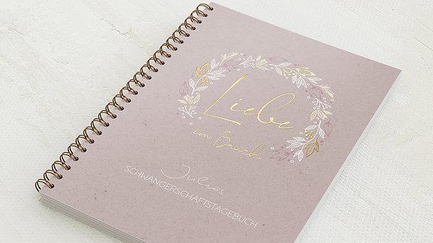 Schwangerschafts-Tagebuch Spiralbindung - Schwangerschaftstagebuch Blätterkranz