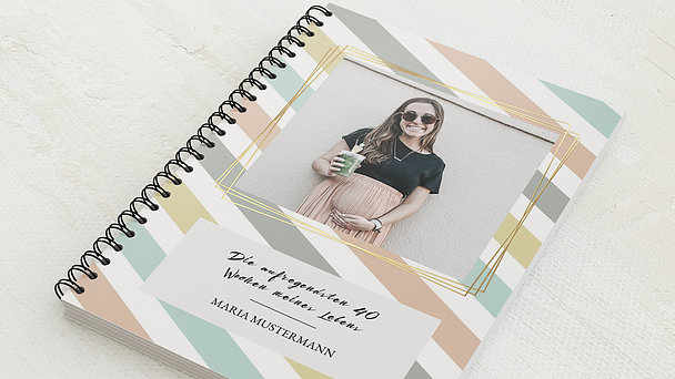 Schwangerschafts-Tagebuch Spiralbindung - Schwangerschaftstagebuch Streifen