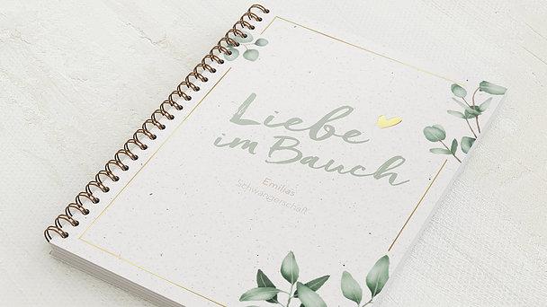 Schwangerschafts-Tagebuch Spiralbindung - Schwangerschaftstagebuch Leaves