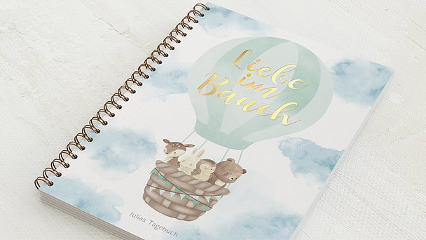 Schwangerschafts-Tagebuch Spiralbindung - Schwangerschaftstagebuch Ballon