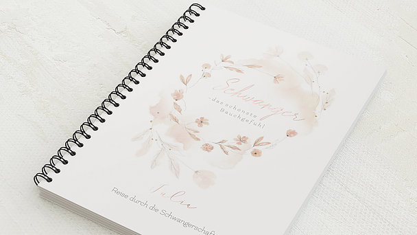 Schwangerschafts-Tagebuch Spiralbindung - Schwangerschaftstagebuch Blütentraum