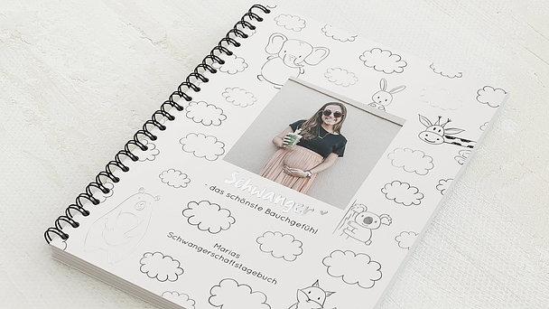 Schwangerschafts-Tagebuch Spiralbindung - Schwangerschaftstagebuch Clouds