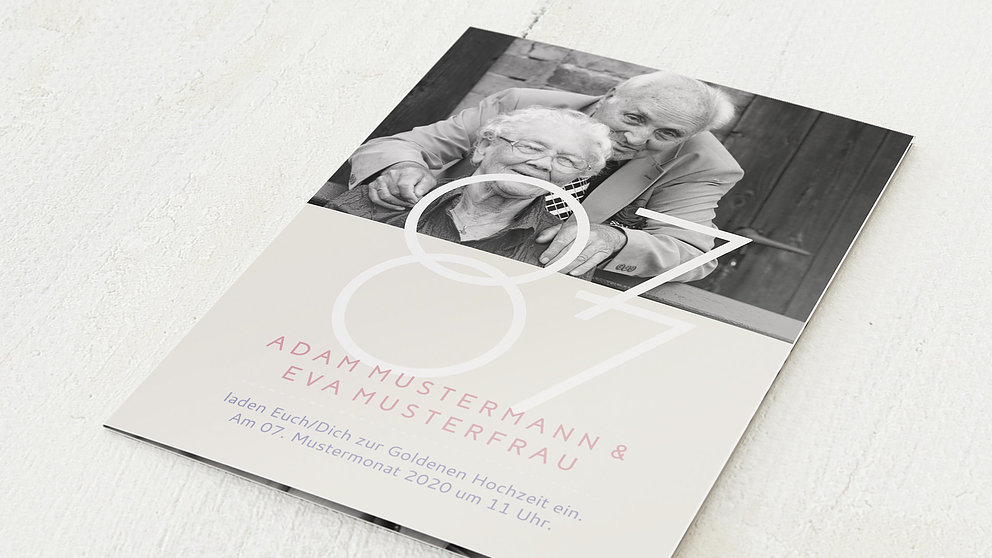 Married 50 Years Vertikale Klappkarte 105x148 Zartes Gold