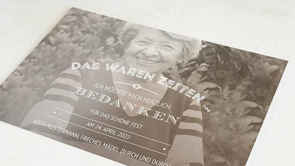 Danksagung Geburtstag - Alte Zeiten 80