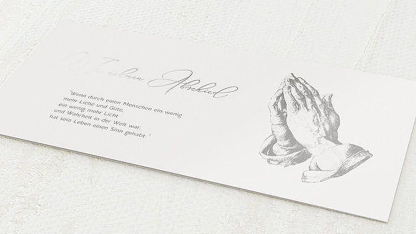 Trauerkarten - Betende Hände