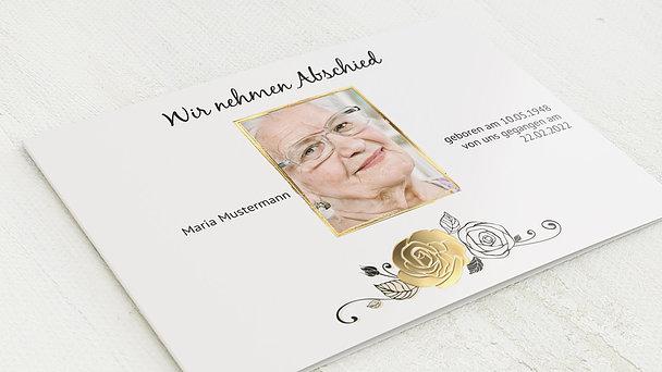 Trauerkarten - Schwarze Rose mit Foto