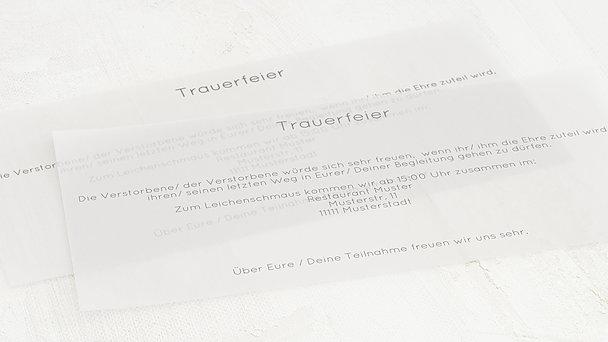 Einlegeblätter für Trauerkarten - Transparente Einlegeblätter DinLang
