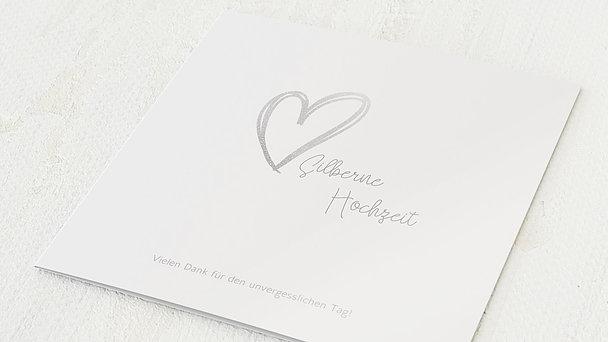 Danksagungskarten Silberhochzeit - Herz über Kopf
