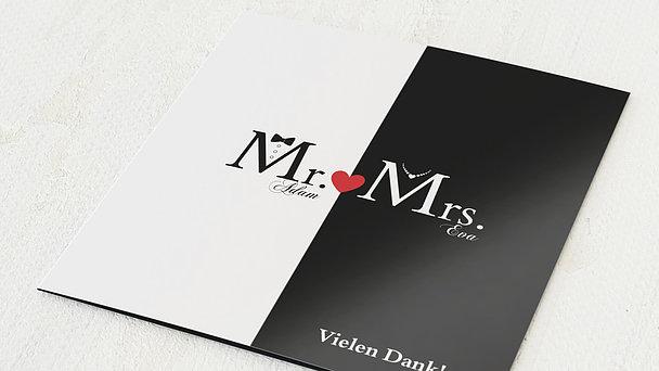 Danksagungskarten Silberhochzeit - Mr & Mrs