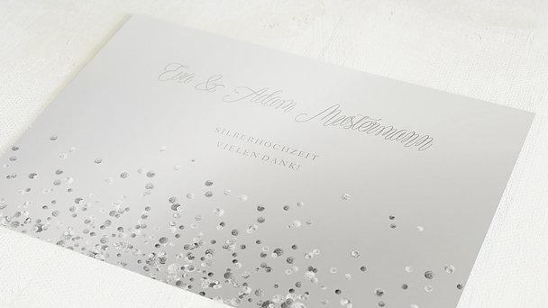 Danksagungskarten Silberhochzeit - Silber-Geflitter